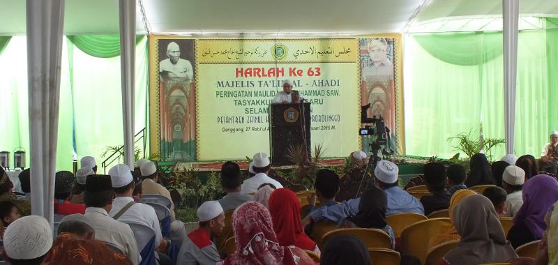KH. Husin Ali Karrar dalam rangka Harlah ke 63 Al-ahadi Pesantren Zainul Hasan Genggong
