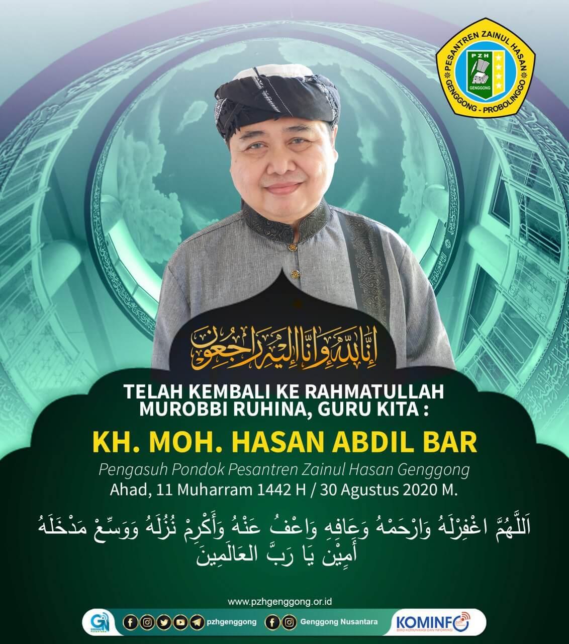 Telah Berpulang Ke Rahmatullah KH. Moh. Hasan Abdel Bar