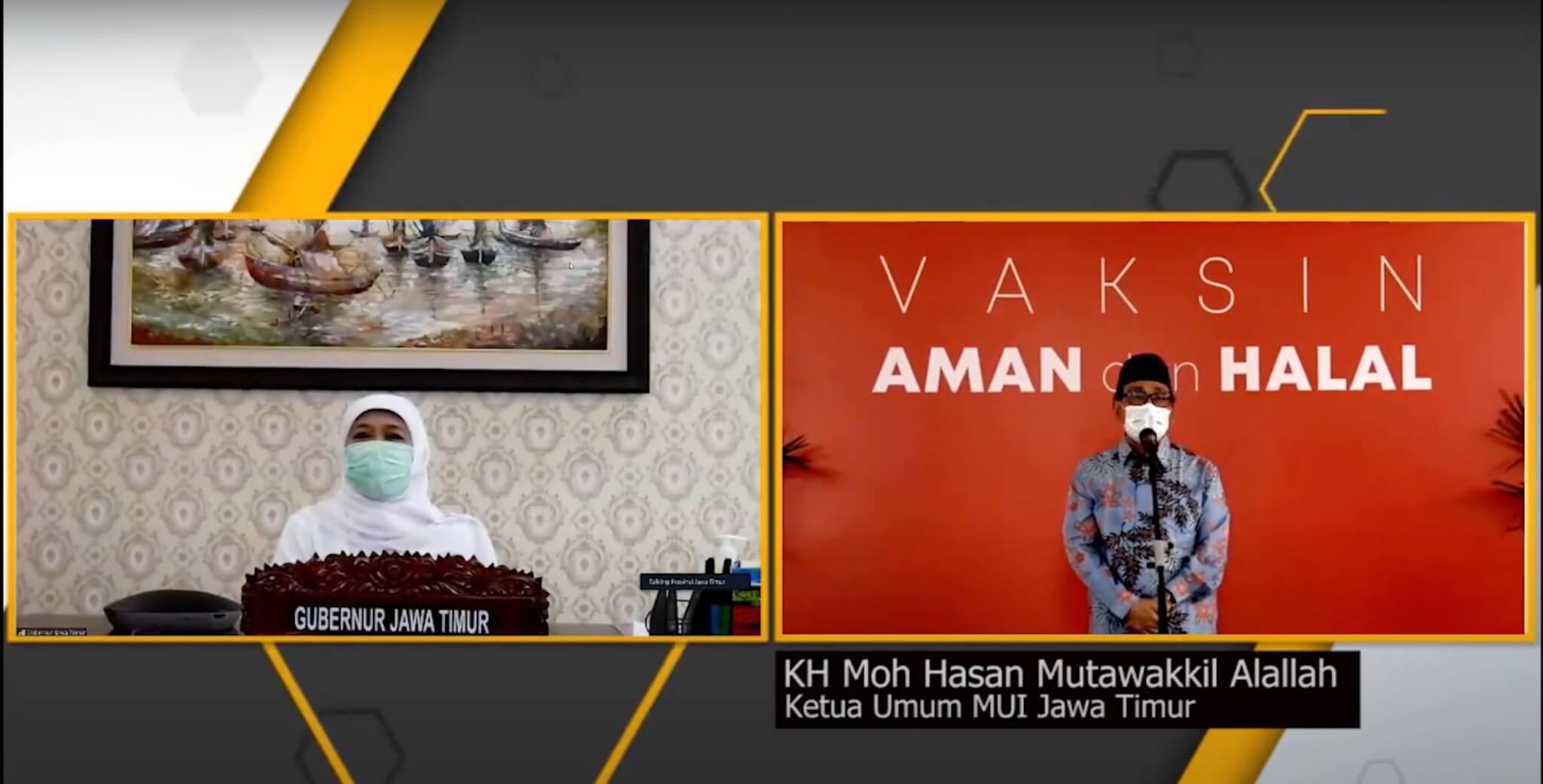 KH. Moh. Hasan Mutawakkil Alallah, S.H, M.M sebagai Ketua Umum MUI Jawa Timur Mendukung Program Vaksinasi COVID-19 dari Pemerintah.
