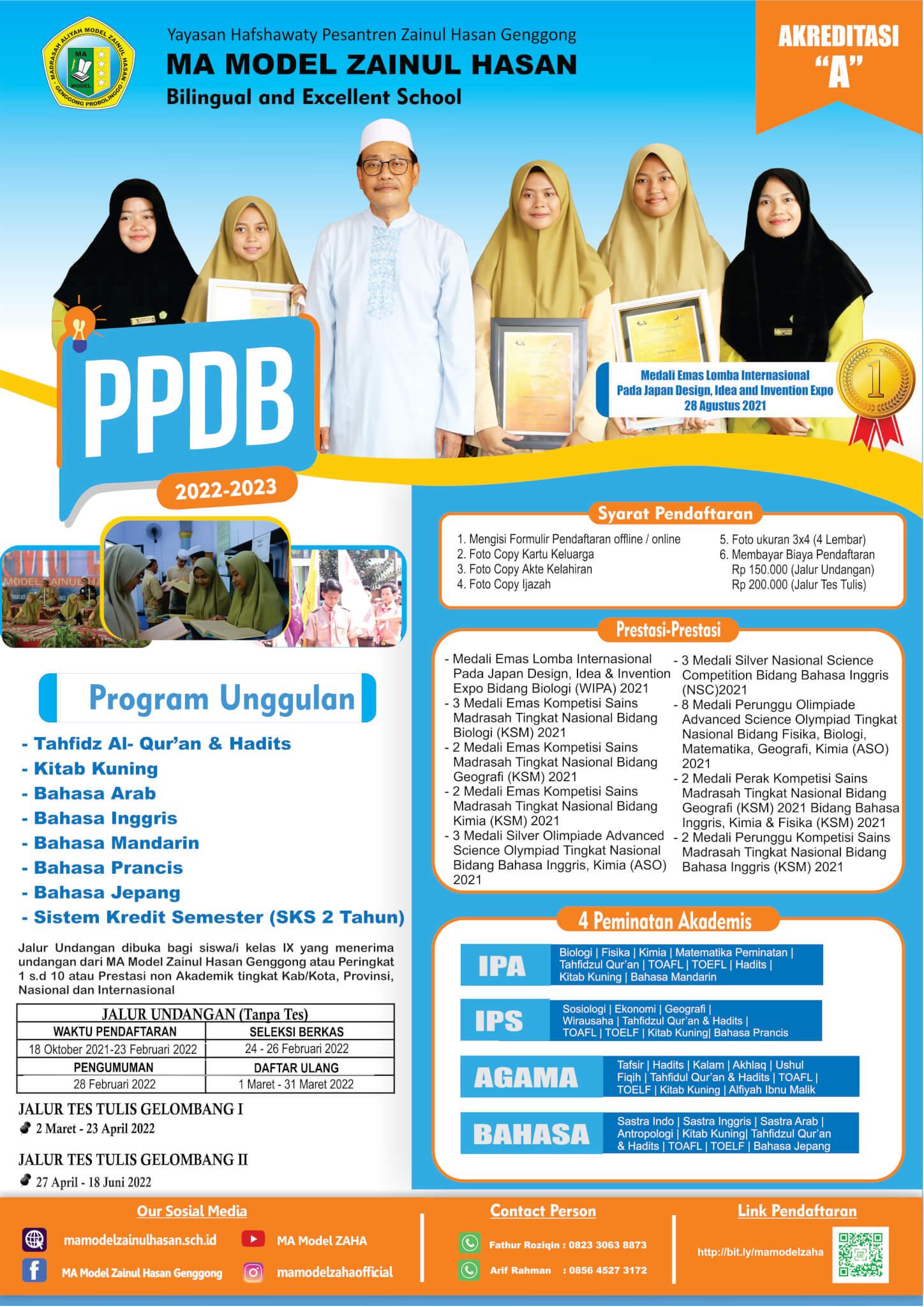 Pendaftaran PPDB MA Model Zaha Dibuka Hari Ini